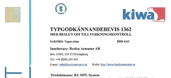 Kiwa typgodkännande BA MPL system bild